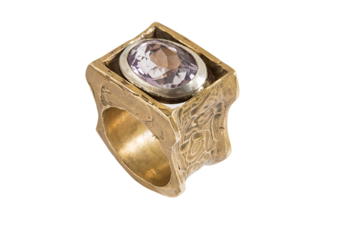 SIMONE VERA BATH, Ring WAVE, in Redgold with semiprecious stones