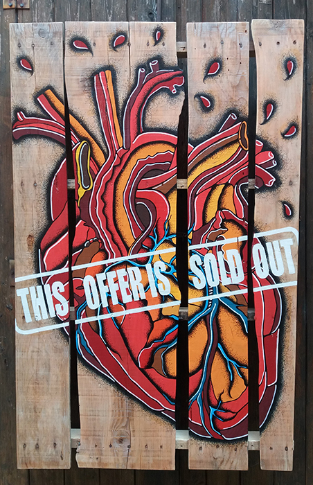 Sold Out, Acrilico e Pantoni su Pallet in legno, 80x120, 2017