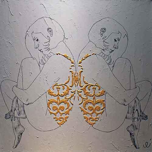 Galleria Unique. Enrico Porro - Colazione a Istanbul. 2018 - bassorilievo di malta al quarzo, acrilico e carboncino su tela - 100x100