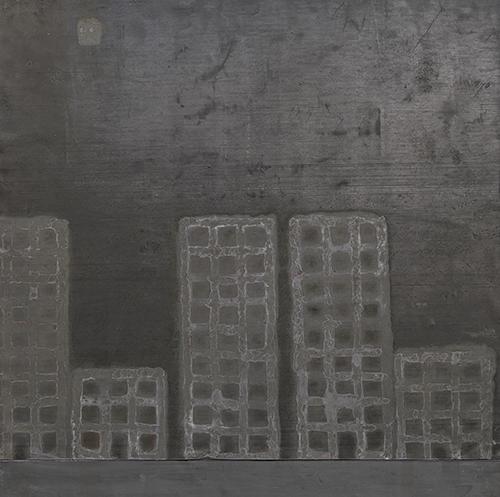 Paesaggi minimi 1, tecnica mista su piombo, cm 50x50, 2017