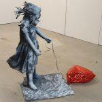 pat_Girl with balloon and gas mask_spray art su manichino ingessato e rimodellato_100x40x70