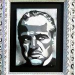 pat_Marlon Brando black & white_acrilici, stencil e spray art su tela_35x25