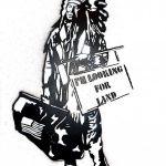 pat_i'm looking for land_stencil e spray art - ogni pezzo unico_50x30