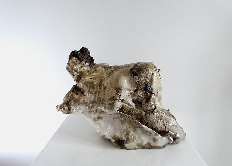 Medina Zabo -St Sebastian - raw clay processed, parasitized beewax, iron-50x30x35 -2018 (2)