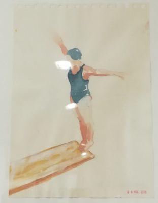 5 #anni20 serie tuffatori, Alketa Delishaj,, grafite su carta, 30x24 cm, 2019