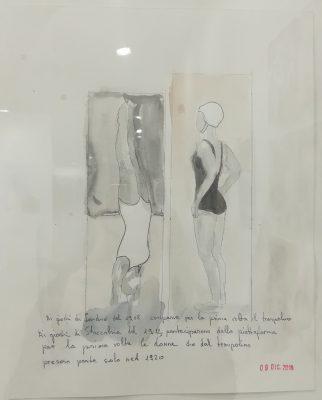 Le donne per la prima volta sul trampolino 1920, Alketa, grafite su carta 30x24 cm, 2019