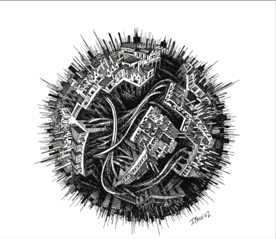 Planète Deg, Jérémy Magniez, disegno su carta inchiostro di china, 30x30 cm, 2019