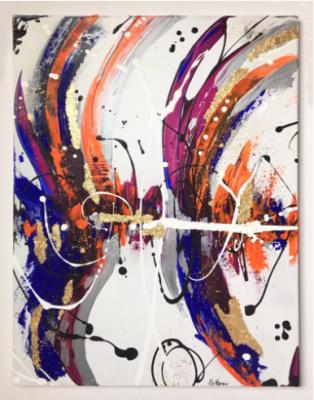 E' una scommessa d'amore, Silvia Bosio, acrilico e applicazione foglia d'oro, 70x50 cm, 2019