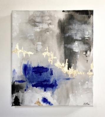 LA SERENITA' SI RIFLETTE SULLE ACQUE DEL MIO LAGO, Silvia Bosio, acrilico foglia oro e vetro fuso, 60x50 cm, 2019
