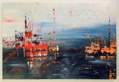 GIUNCHE IN UN OCEANO DI SPERANZA, Silvia Bosio, tecnica mista e acrilici, 80x120 cm, 2020
