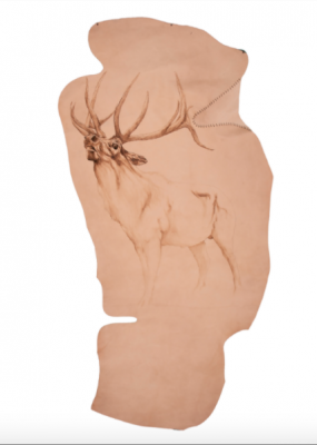 Quando eravamo amabili selvaggi secondo il cervo di Cabri Daniele, Pelle animale incisa a fuoco, 200x83 cm, 2018