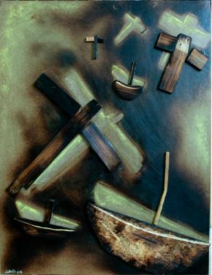 Requiem in fondo al mare di Cabri Daniele, pastello su legno bruciato, 120x100 cm, 2015