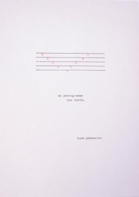 Un pentagramma non basta di Luca Gamberini, macchina da scrivere, 21x29,7 cm, 2020