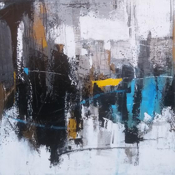 Città, Valeriano Lessio, Spatola smalti e acrilico, 100 x 100 cm 2020