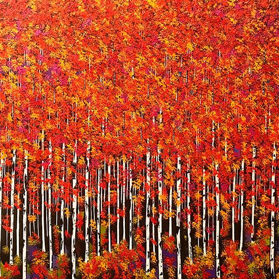 Benedetto Magnano San Lio Bosco Rosso Olio su tela 100 x 120 cm