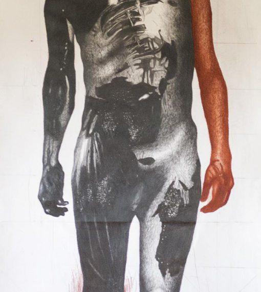 Nicola Alessandrini, Funeral mask, Grafite e sanguigna su carta, 250 x 90 cm, 2020
